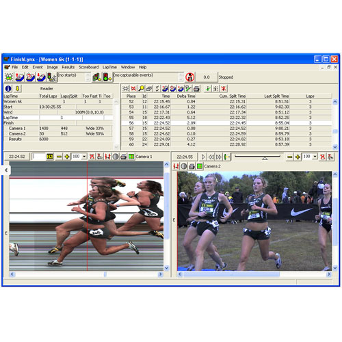 Finishlynx software displaying phtofofinish and identilynx video images