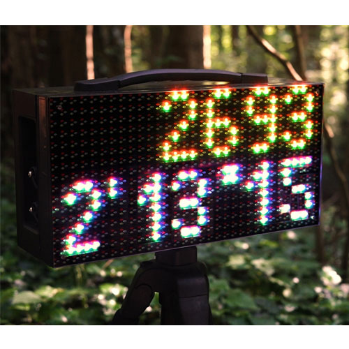 Freelap LED Display showing times - Mountain Biking