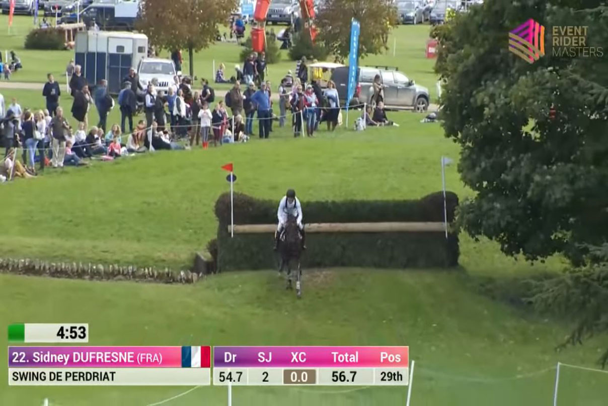 Television Graphics from an Equestrian event showing running time and points